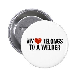My Heart Belongs to a Welder 6 Cm Round Badge
