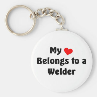 My heart belongs to a Welder Basic Round Button Key Ring