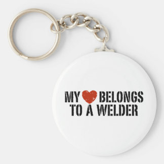 My Heart Belongs to a Welder Basic Round Button Key Ring