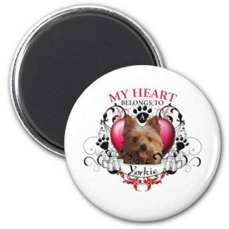 My Heart Belongs to a Yorkie 6 Cm Round Magnet