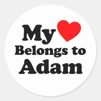 My Heart Belongs to Adam Round Sticker