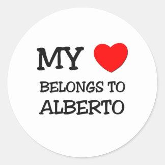 My Heart Belongs to Alberto Round Stickers