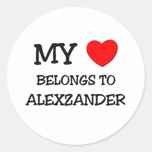 My Heart Belongs to Alexzander Round Stickers