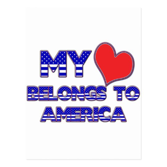 My Heart Belongs To America Postcard