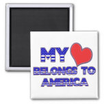 My Heart Belongs To America Square Magnet