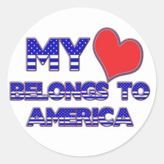 My Heart Belongs To America Round Stickers