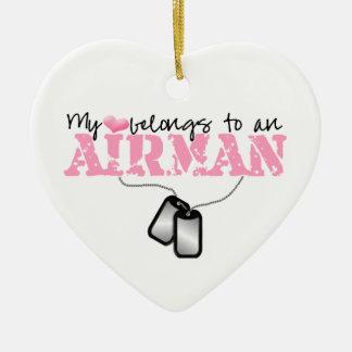 My Heart Belongs to an Airman Ceramic Heart Decoration