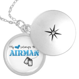 My Heart Belongs to an Airman Round Locket Necklace