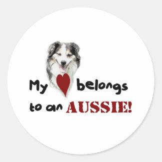 My heart belongs to an Aussie! Round Stickers