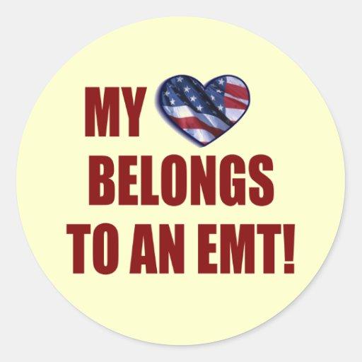 My Heart Belongs to an EMT Round Stickers