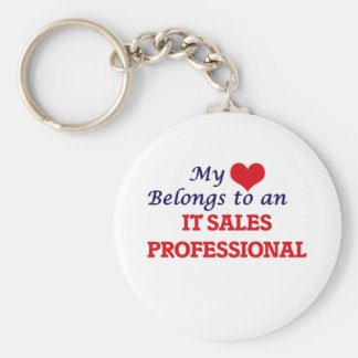 My Heart Belongs to an It Sales Professional Basic Round Button Key Ring