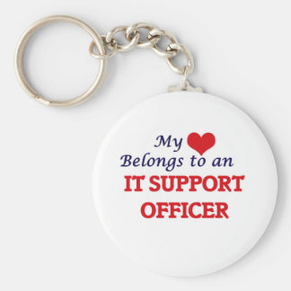 My Heart Belongs to an It Support Officer Basic Round Button Key Ring