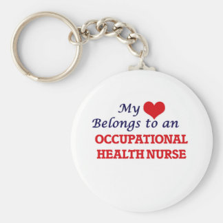 My Heart Belongs to an Occupational Health Nurse Basic Round Button Key Ring