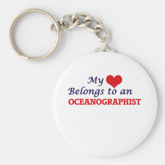My Heart Belongs to an Oceanographist Basic Round Button Key Ring