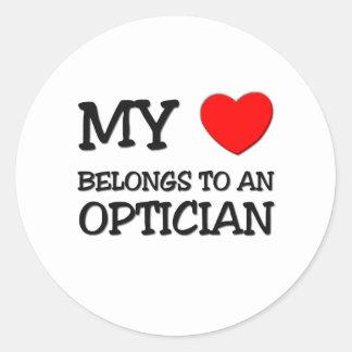 My Heart Belongs To An OPTICIAN Round Sticker