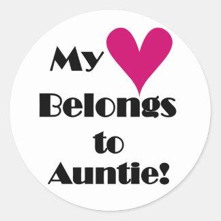 My Heart Belongs to Auntie Round Sticker
