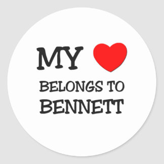 My Heart Belongs to Bennett Round Sticker