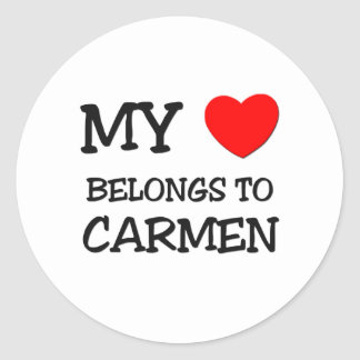 My Heart Belongs to Carmen Round Stickers