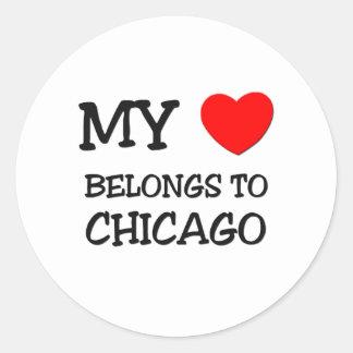 My heart belongs to CHICAGO Round Sticker