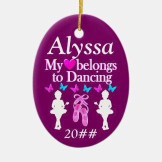 MY HEART BELONGS TO DANCING PERSONALIZED ORNAMENT
