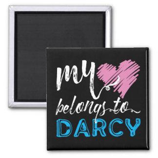My [Heart] Belongs to Darcy - Jane Austen Square Magnet