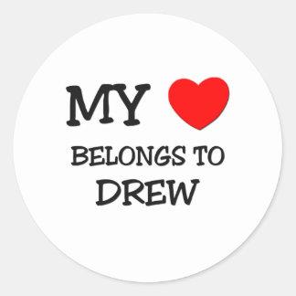 My Heart Belongs to Drew Round Sticker