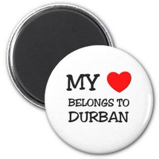 My heart belongs to DURBAN 6 Cm Round Magnet