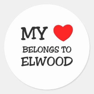 My Heart Belongs to Elwood Round Stickers