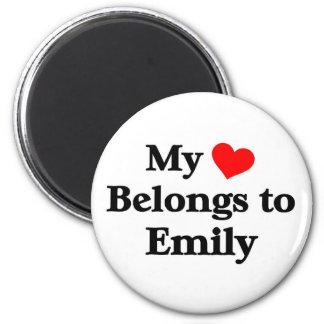 My heart belongs to emily 6 cm round magnet