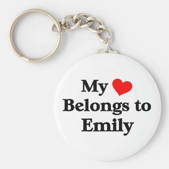 My heart belongs to emily basic round button key ring