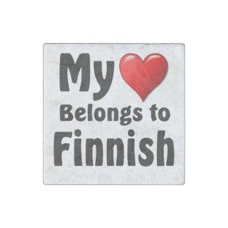 My heart Belongs to Finnish Stone Magnet