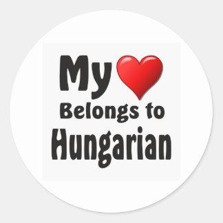 """""""My heart Belongs to Hungarian"""" Round Sticker"""
