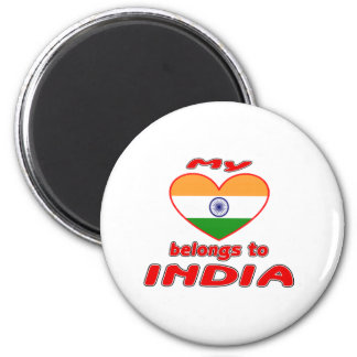 My heart belongs to India 6 Cm Round Magnet