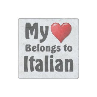My heart Belongs to Italian Stone Magnet
