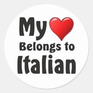 """My heart Belongs to Italian"" Round Stickers"