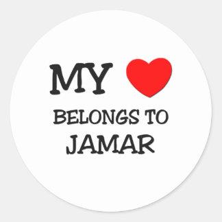 My Heart Belongs to Jamar Round Stickers