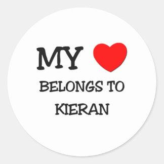 My Heart Belongs to Kieran Round Sticker