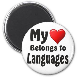 My heart Belongs to Languages Fridge Magnet