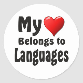 My heart Belongs to Languages Round Stickers