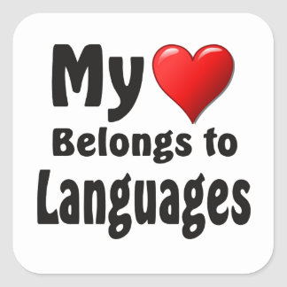 My heart Belongs to Languages Square Stickers