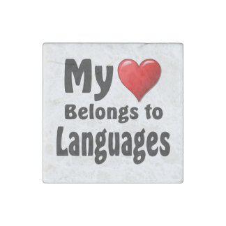 My heart Belongs to Languages Stone Magnet
