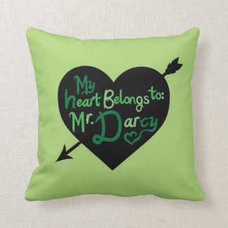 My Heart Belongs to Mr Darcy heart arrow pillow Throw Cushion
