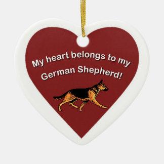 MY HEART BELONGS TO MY GERMAN SHEPHERD! CERAMIC HEART DECORATION