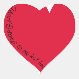 My heart belongs to my hot hubby heart sticker