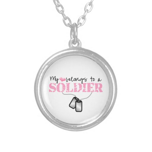 My Heart Belongs To My Soldier {pink} Personalized Necklace