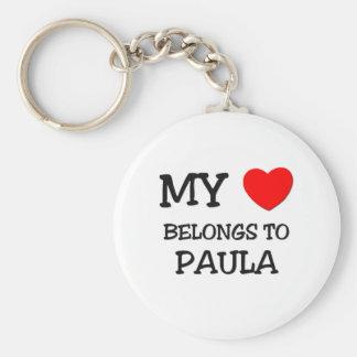 My Heart Belongs To PAULA Basic Round Button Key Ring