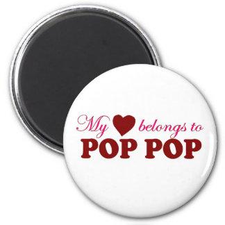My Heart Belongs to Pop Pop 6 Cm Round Magnet