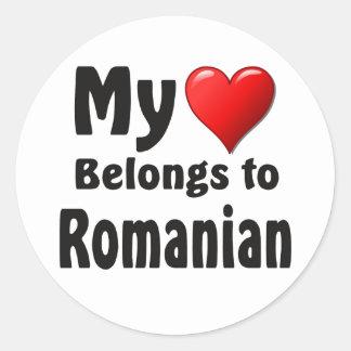 My heart Belongs to Romanian Round Sticker
