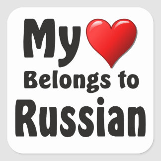 My heart Belongs to Russian Square Stickers