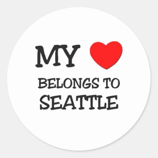 My heart belongs to SEATTLE Round Stickers